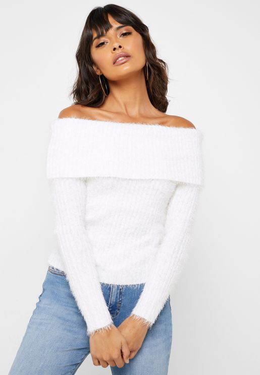 Ribbed Bardot Sweater