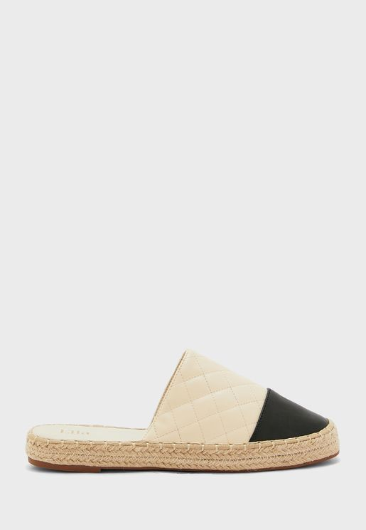 Quilted Toe Cap Open Back Espadrille