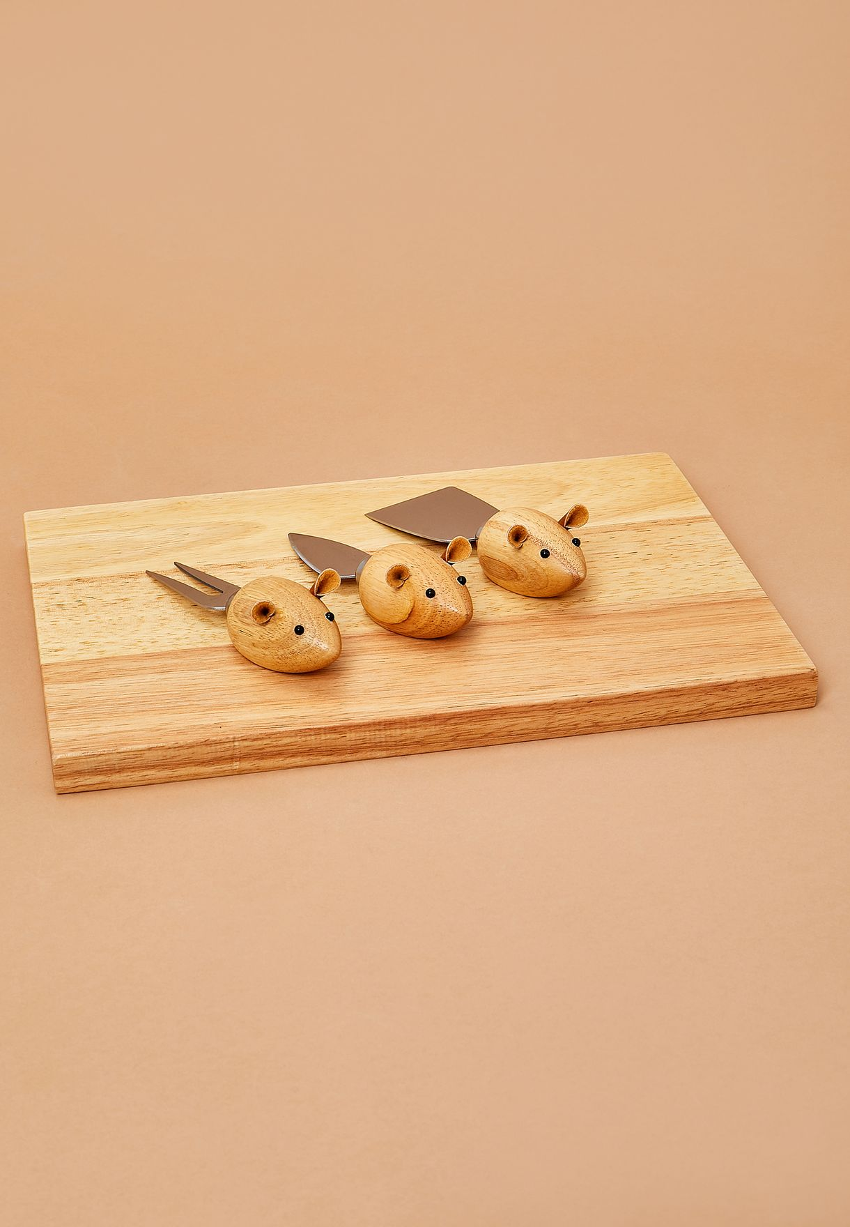 3 Mouse Knives With Cheese Board