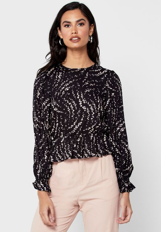 Printed High Neck Top