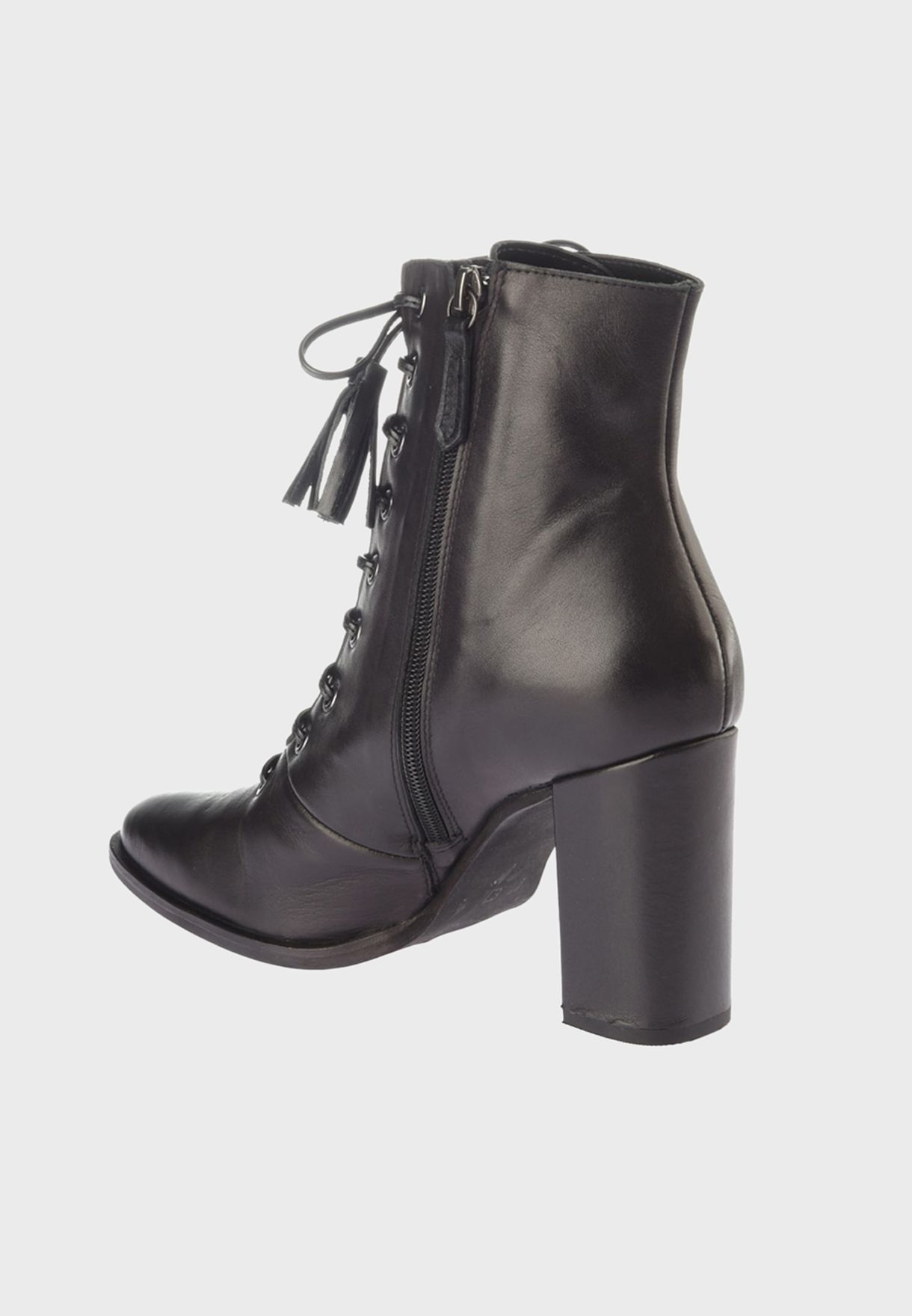 Lace Up Block Heel Boot