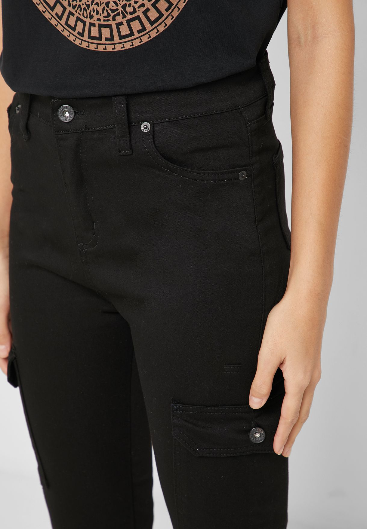 High Waisted Cargo Skinny Jeans