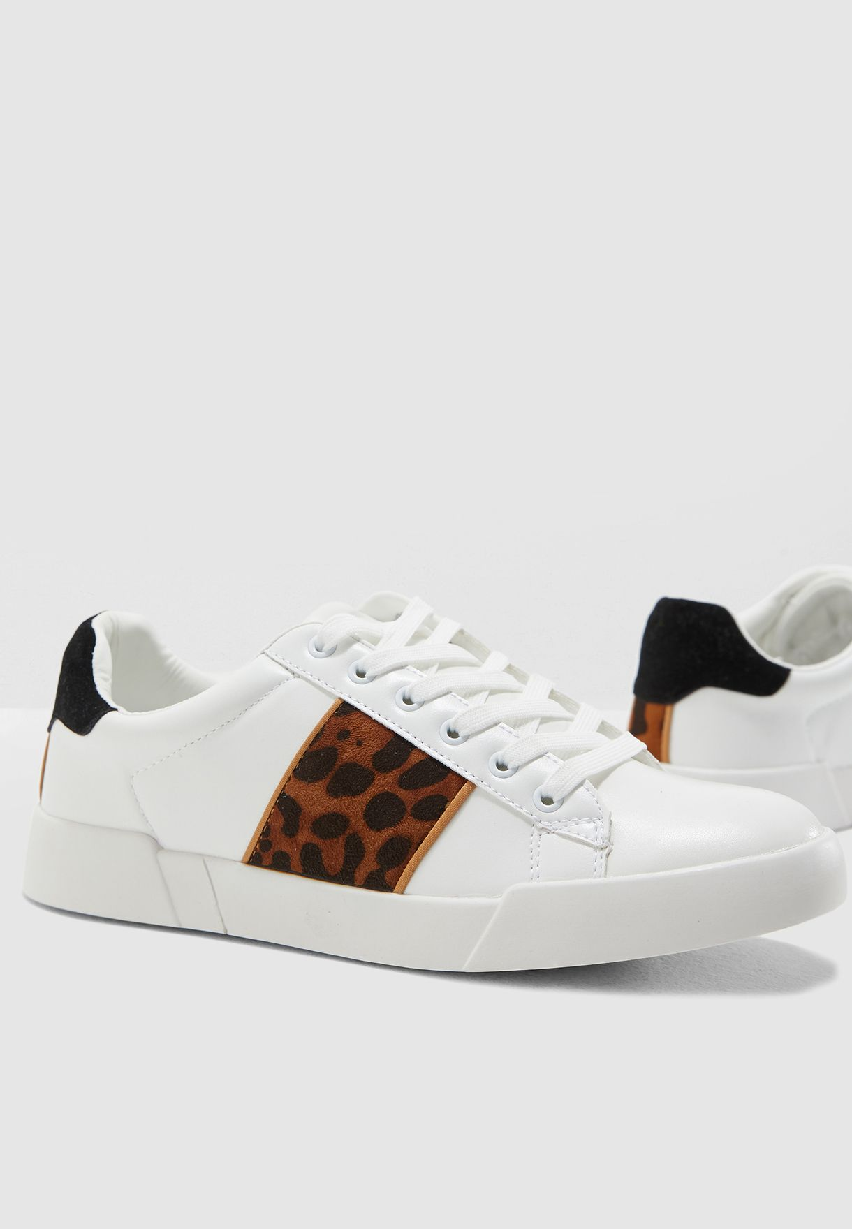 b84af0b0608 Shop Ginger white Leopard Print Detail Classic Sneakers 18203B for ...