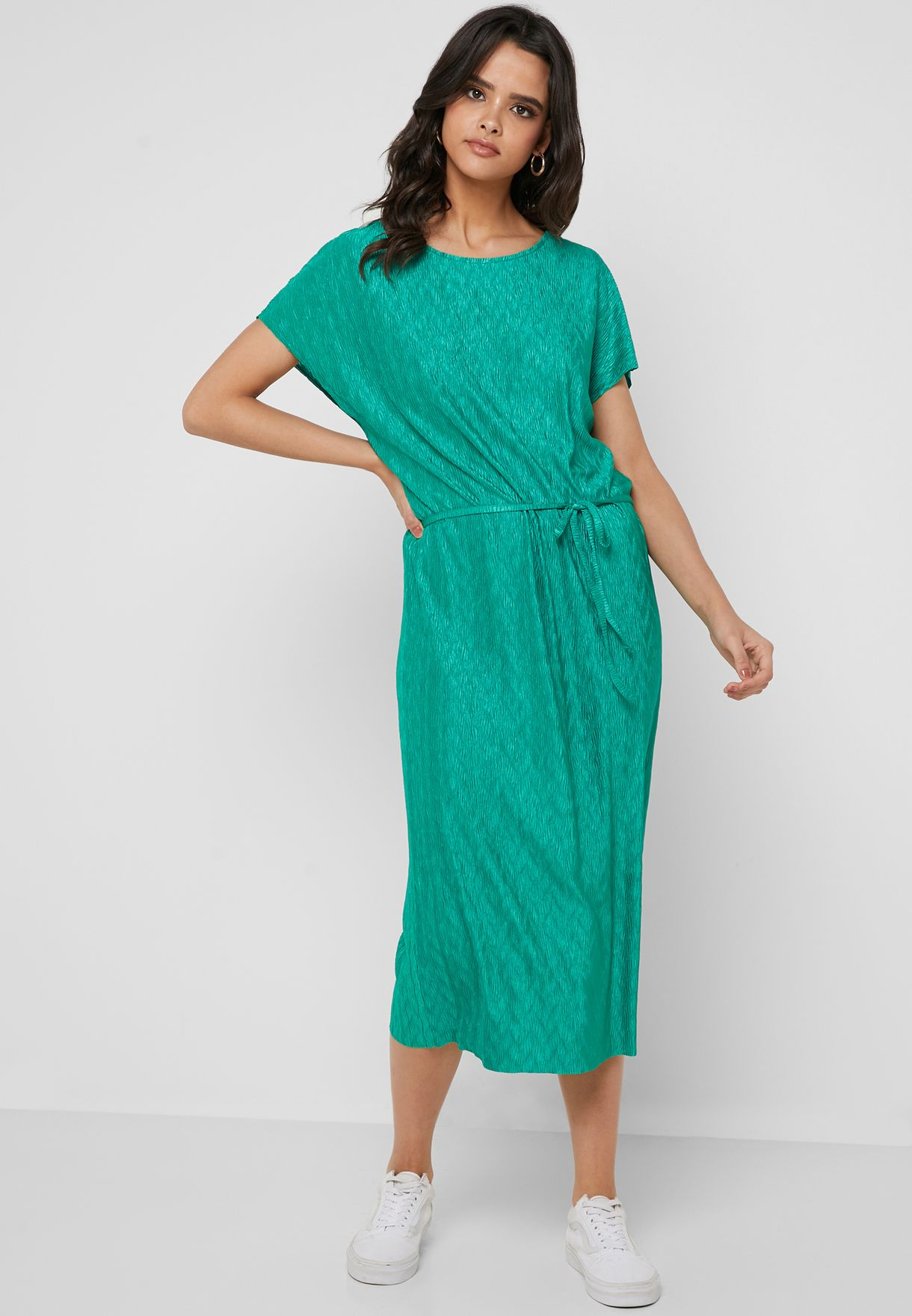 Tie Waist Textured Dress