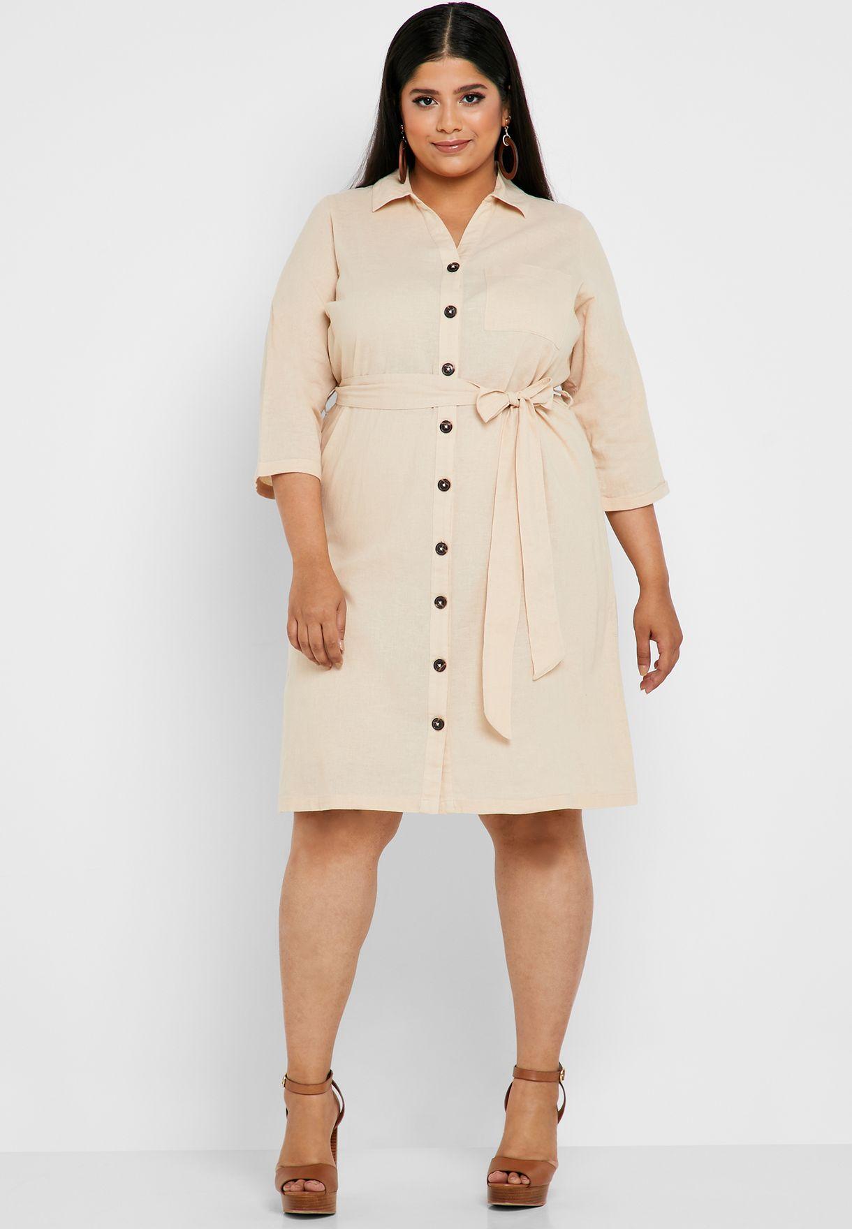 f060cfb06d9 Shop Dorothy Perkins Curve beige Belted Shirt Dress 3215807 for ...