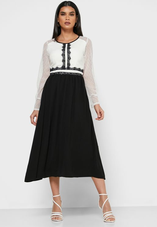 Contrast Lace Insert Midi Dress