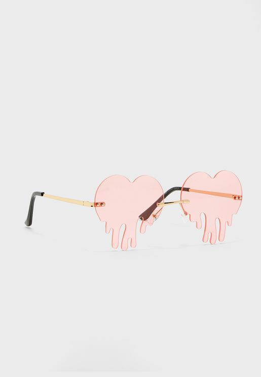 Heart Rimless Sunglasses