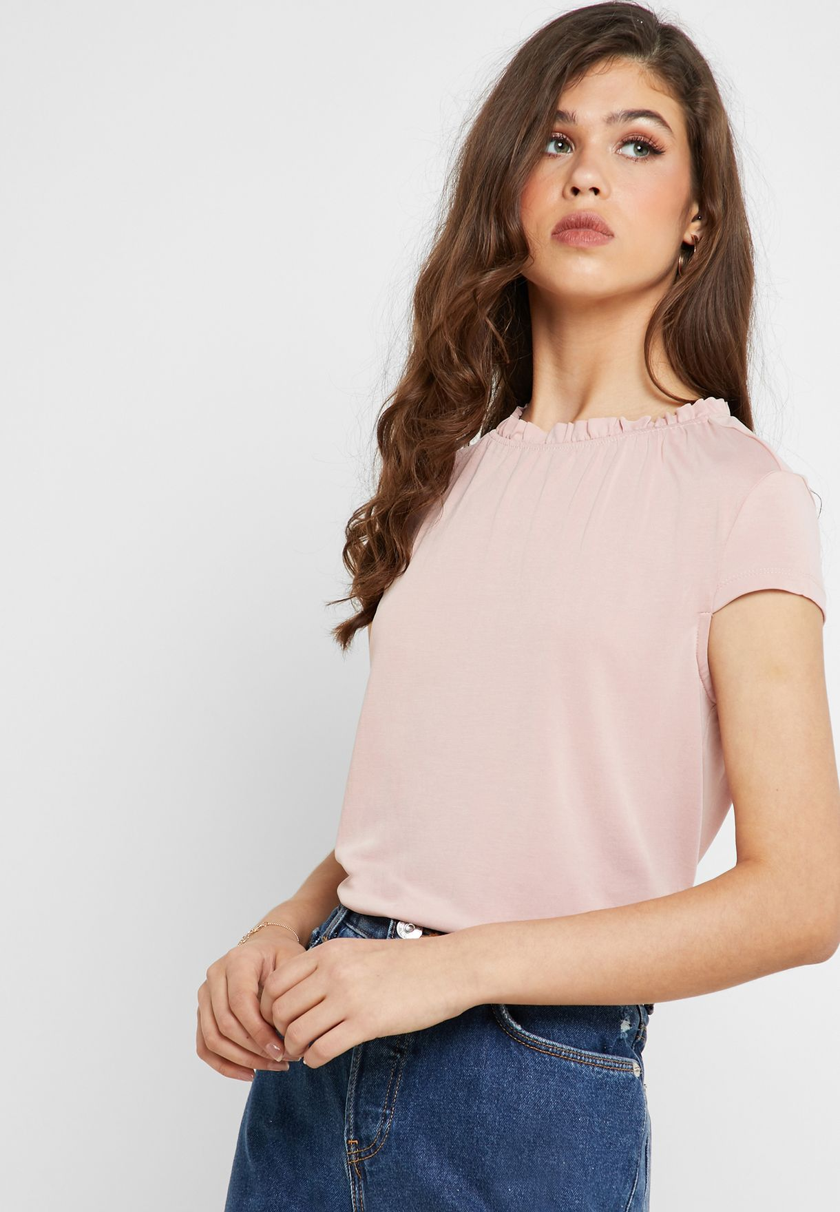 4e92a3a74 Shop Only pink Ruched Neck Short Sleeve Top 15177488 for Women in ...