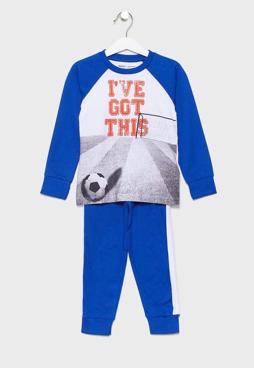 Little Graphic T-Shirt + Side Stripe Pyjama Set
