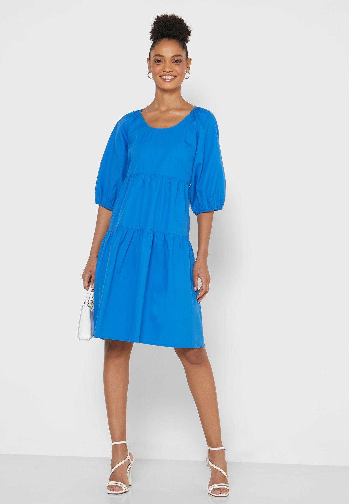 Puffed Sleeve Tiered Mini Dress