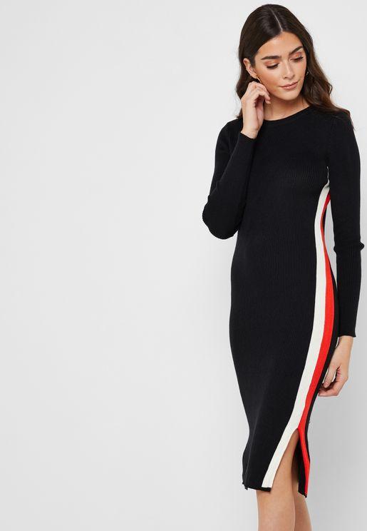 Contrast Side Paneled Midi Dress