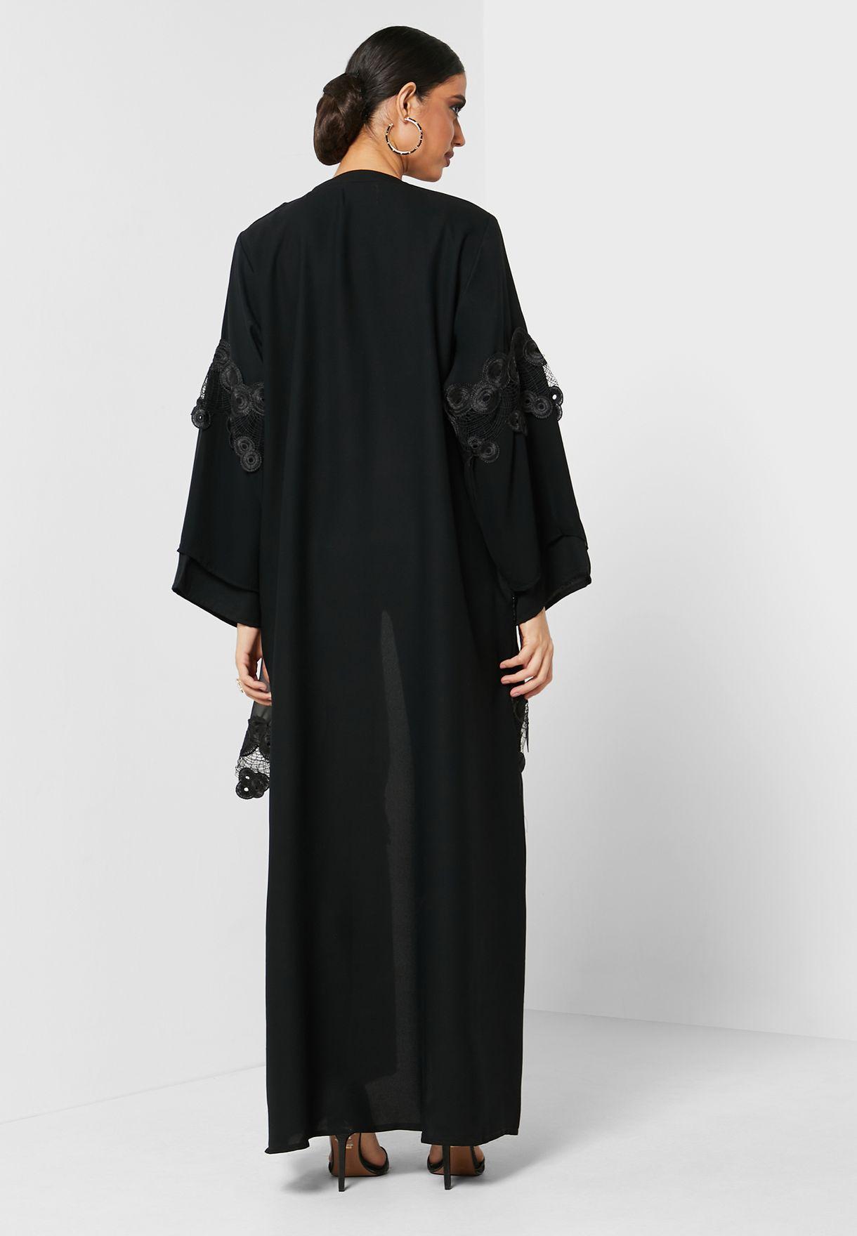 Pleated lace Detail Abaya
