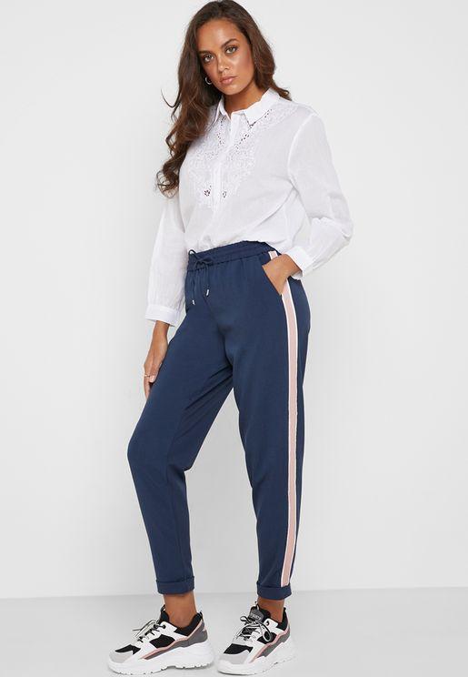 Tie Waist Side Panel Pants