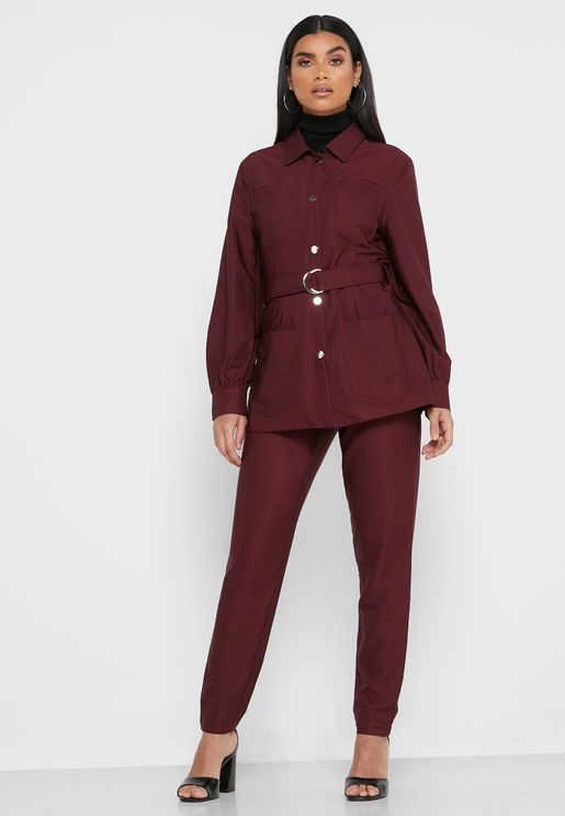 Belted Shirt Pants Set