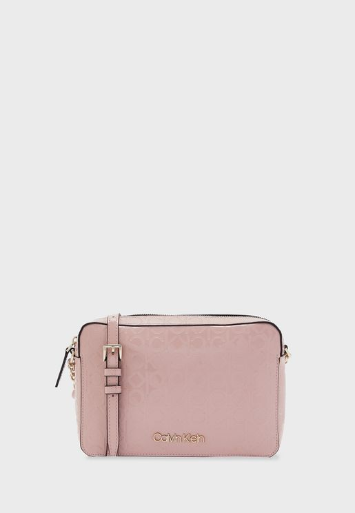 Logo Textured Top Zip Crossbody