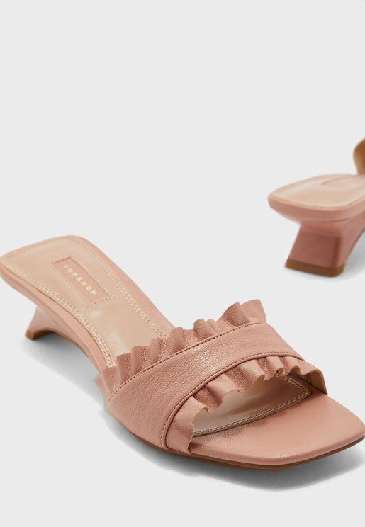 Nougat Frill Mule Sandal