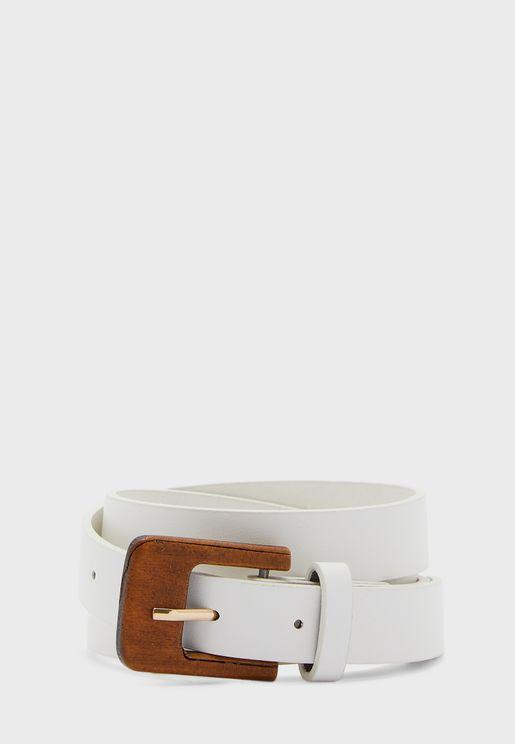 Wooden Buckle Skinny Belt