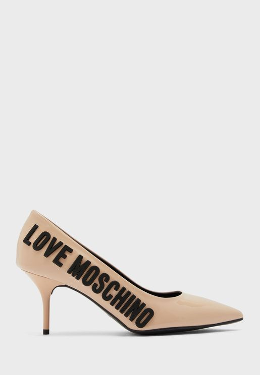حذاء جلد اصلي بكعب متوسط