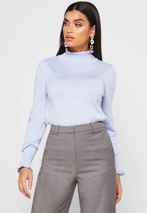 Ruffle Trim High Neck Sweater