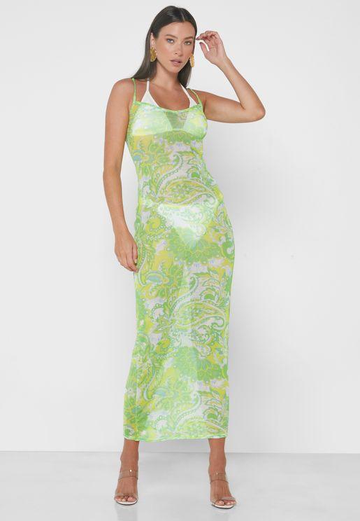 Lime Mesh Maxi Dress