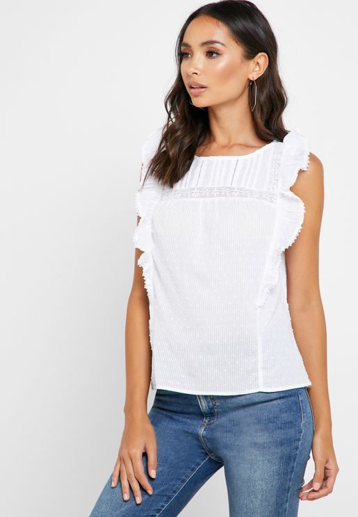 Lace and Crochet Ruffle Detail Trim Top