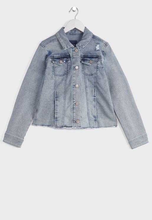 Youth Light Wash Embroidered Denim Jacket