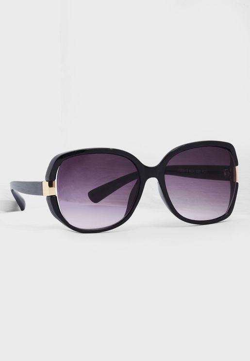 Metal Trim Oversized Sunglasses
