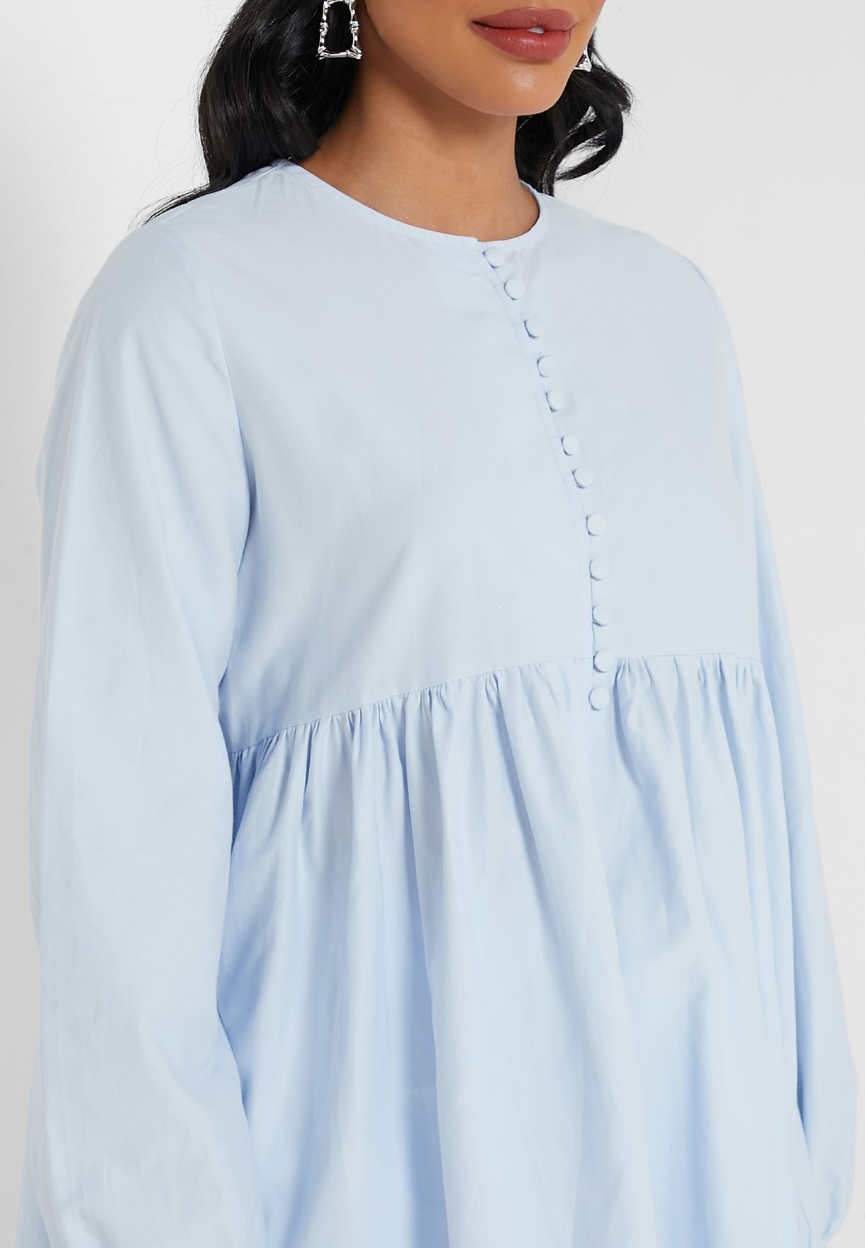 Button Down Pleated Tunic Top