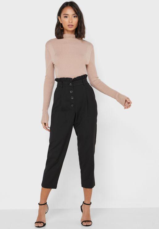 Button Front  Paperbag Waist Pants