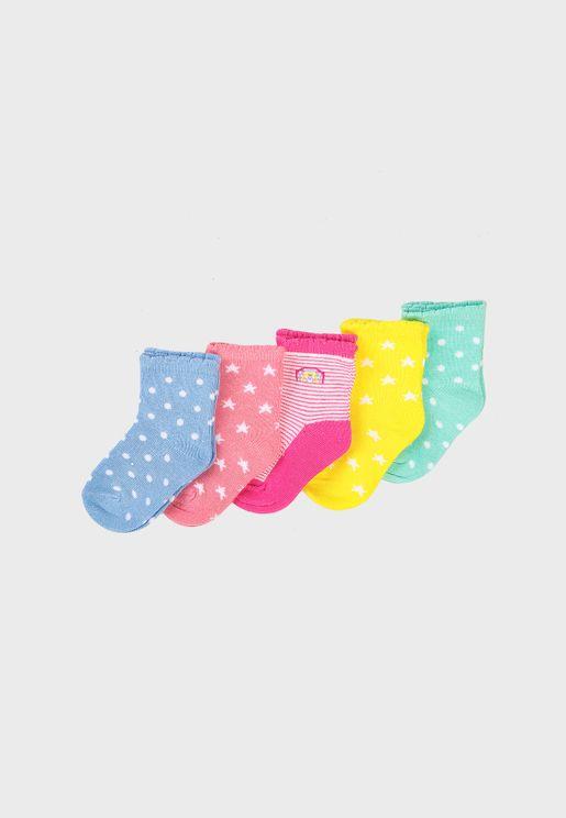 Kids 5 Pack Multi Colour Socks