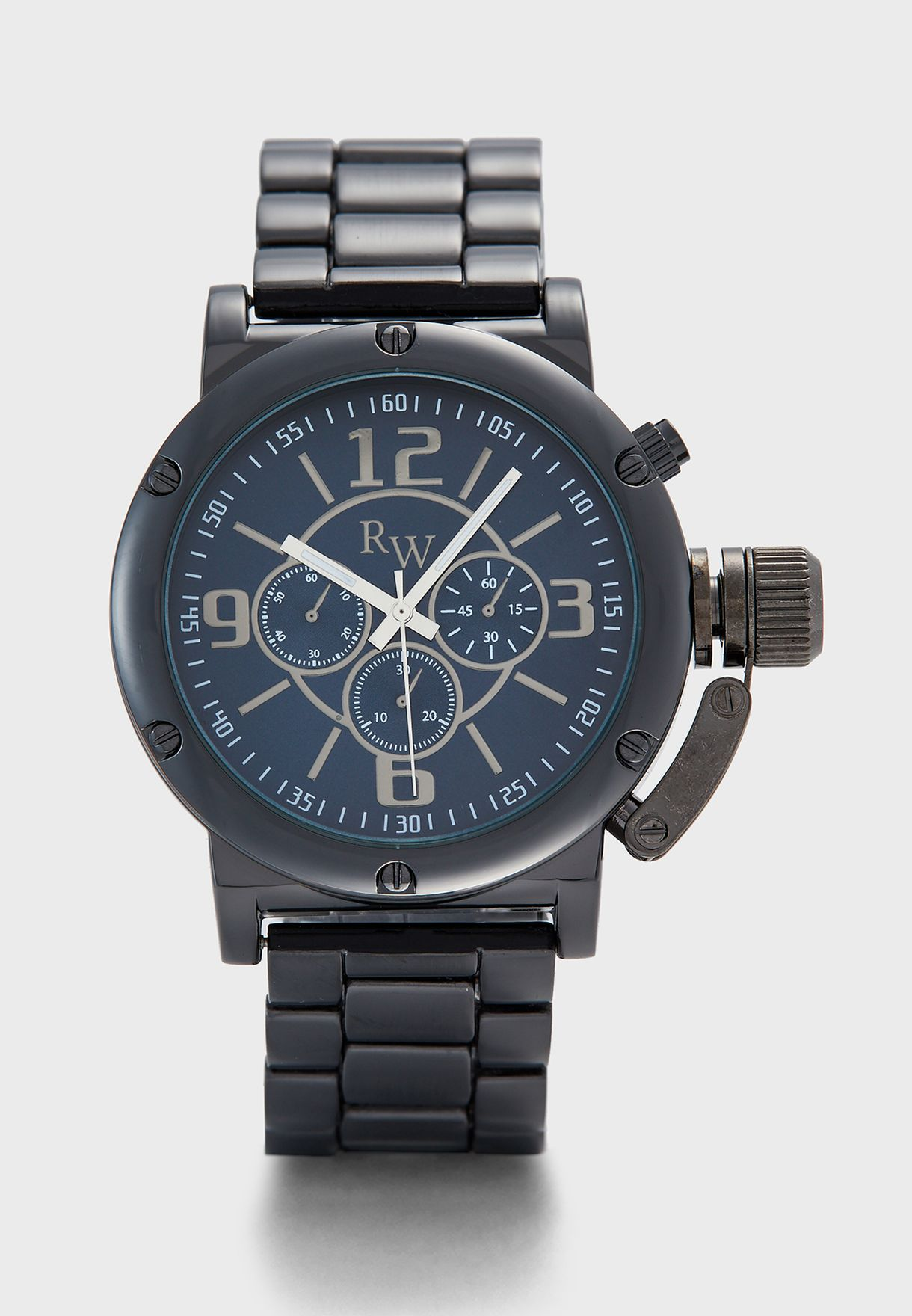 Chunky Dial Metal Strap Analogue Watch