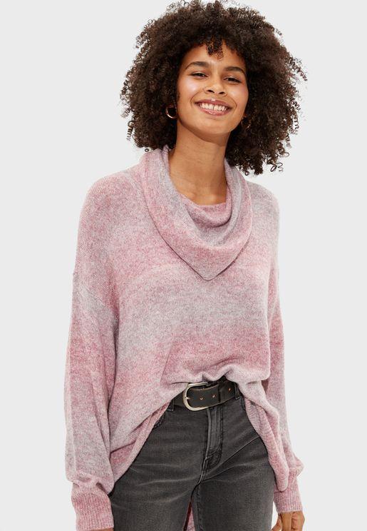 Cowl Neck Spacedye Sweater