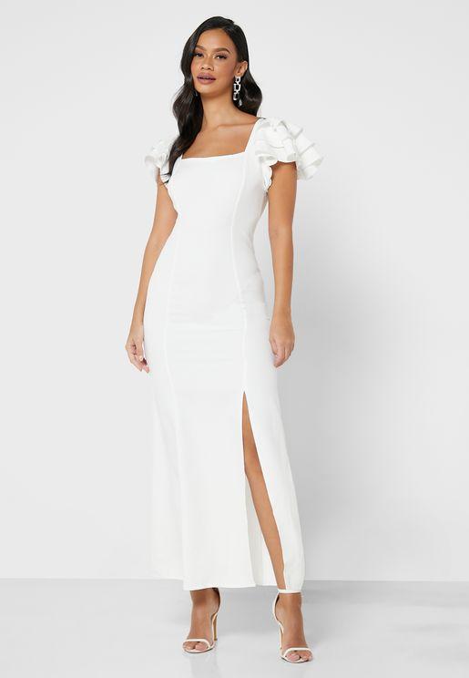 Ruffle Sleeve Slit Dress