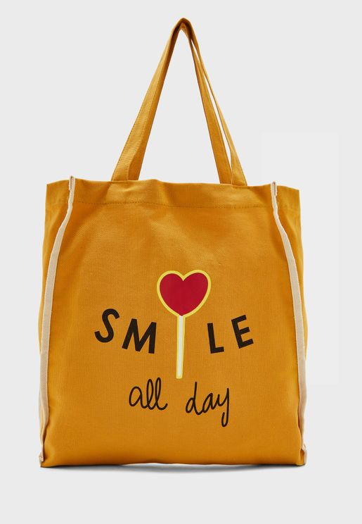 Smile Fabric Tote Bag