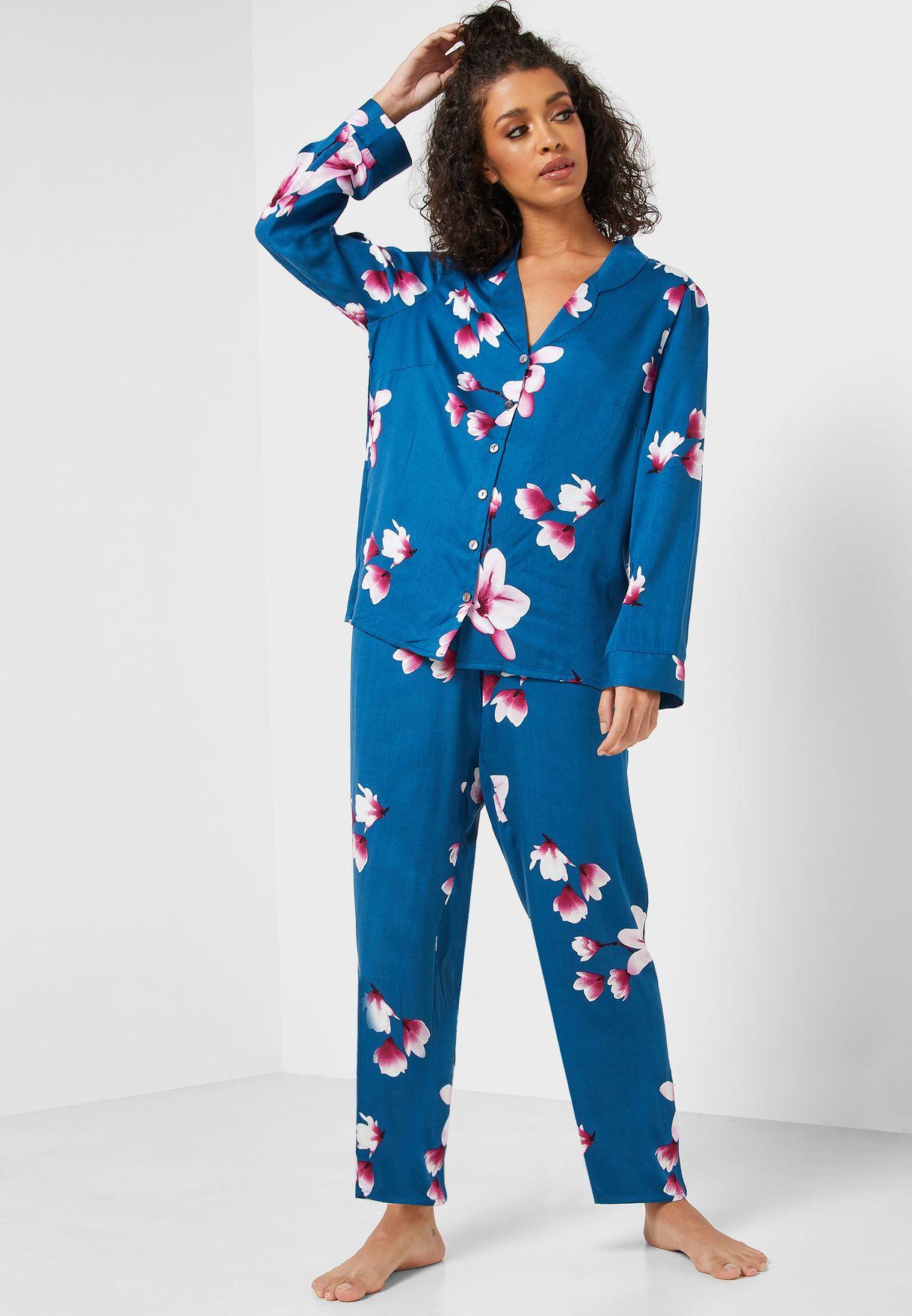 Floral Print Shirt & Pyjama Set