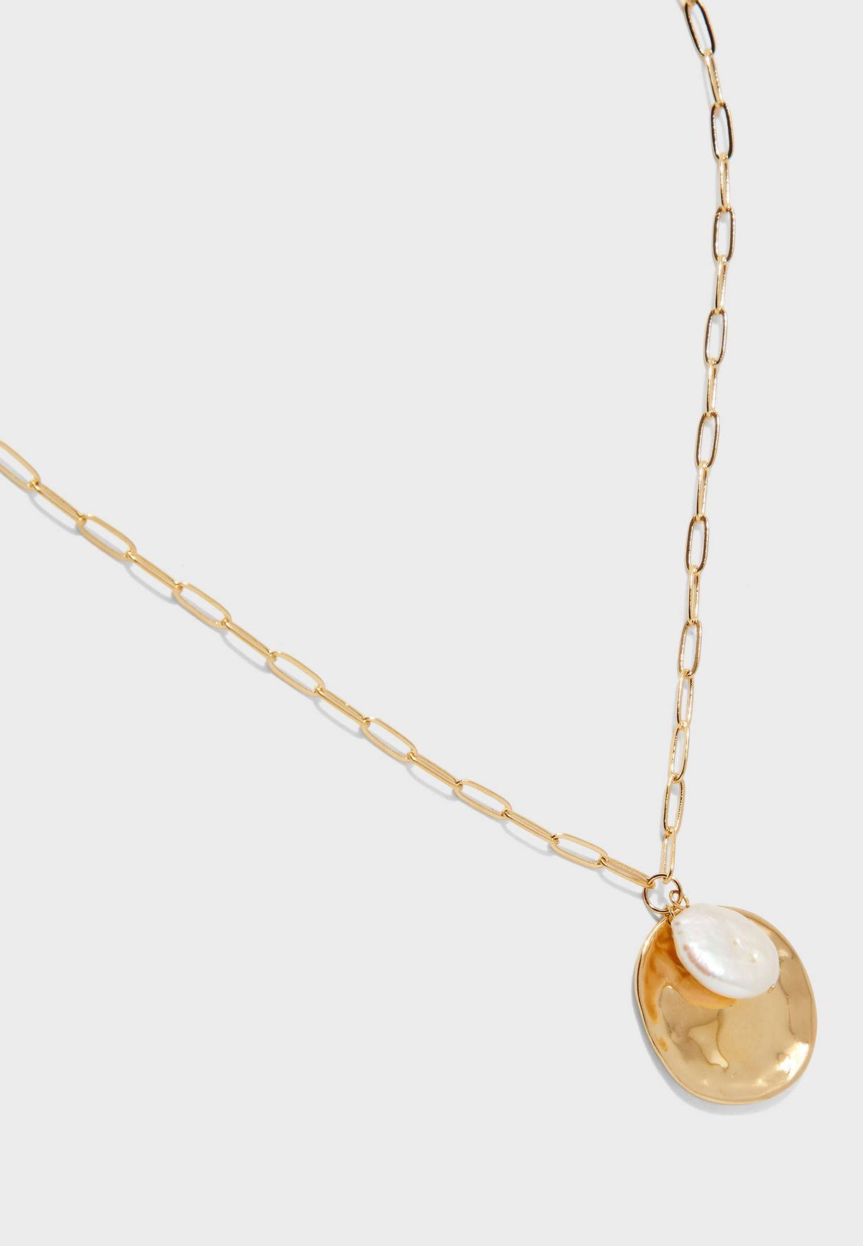 Coin & Pearl Cluster Necklace