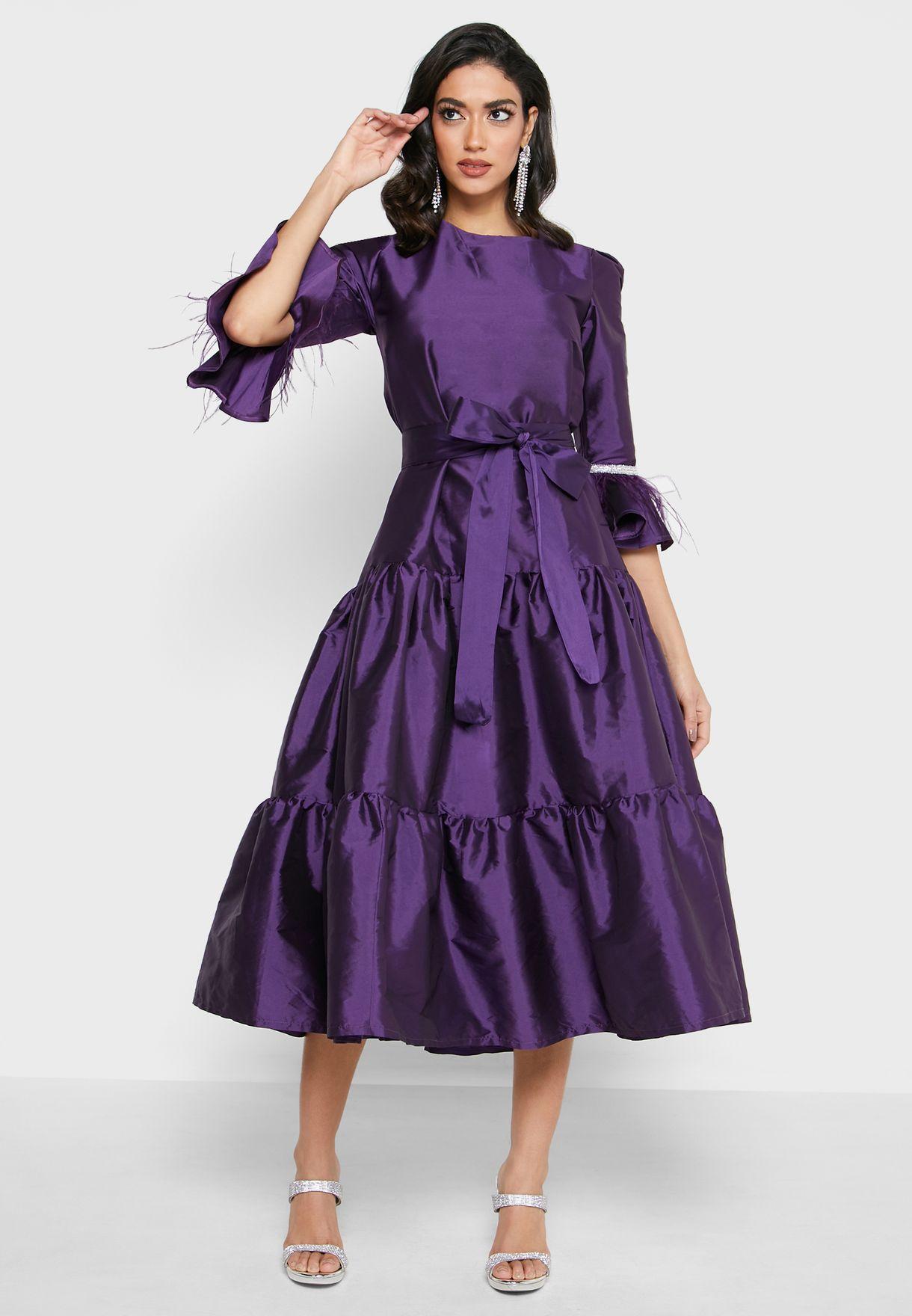 Ruffle Hem Flute Sleeve Dress