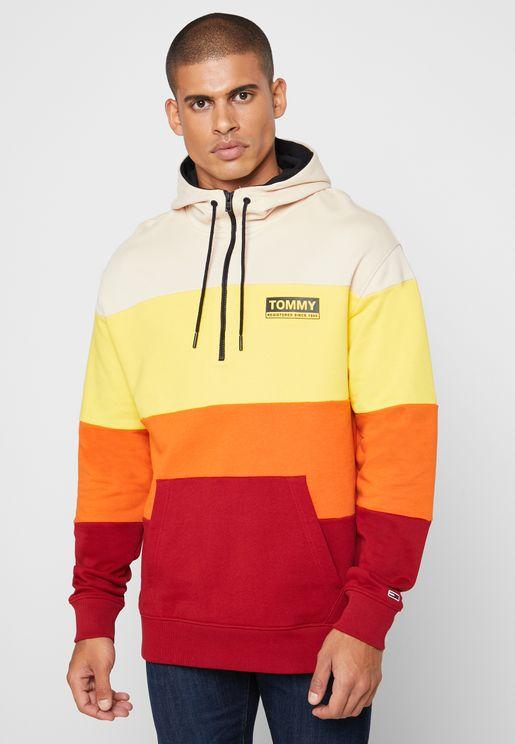 Color Block Half Zip Hoodie