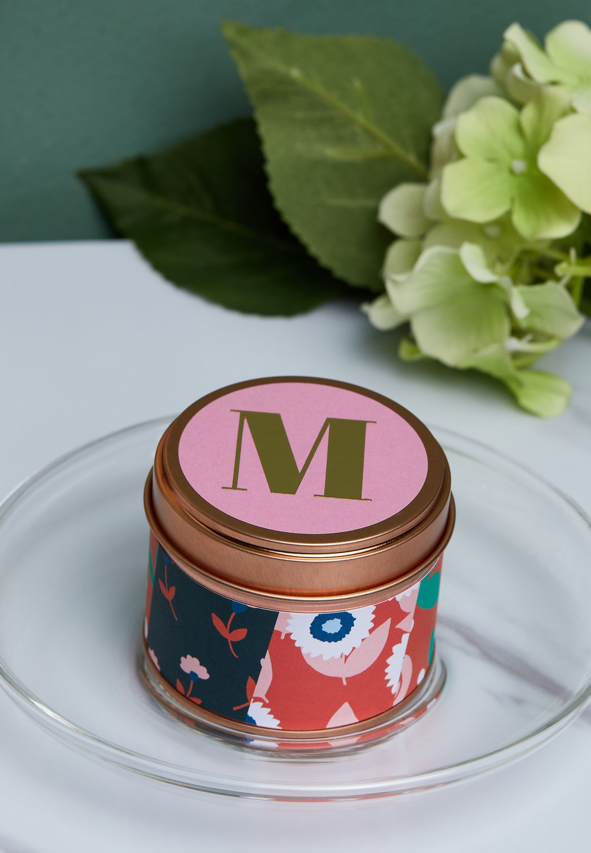 M Initial Floral Candle
