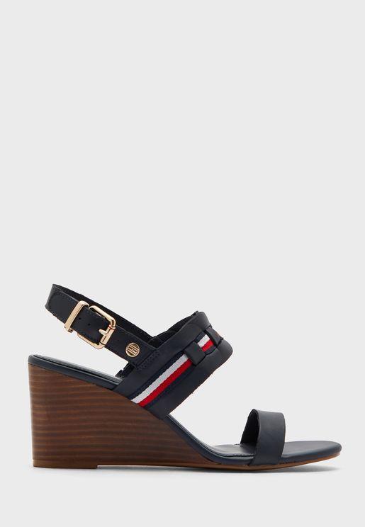 Interlace Mid Heel Wedge Sandal