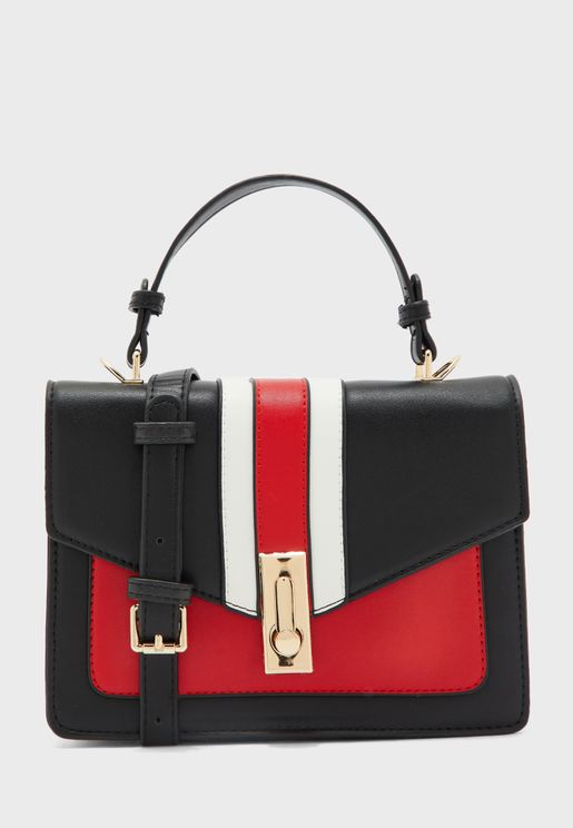 Contrast Colour Small Satchel with Crossbody Strap