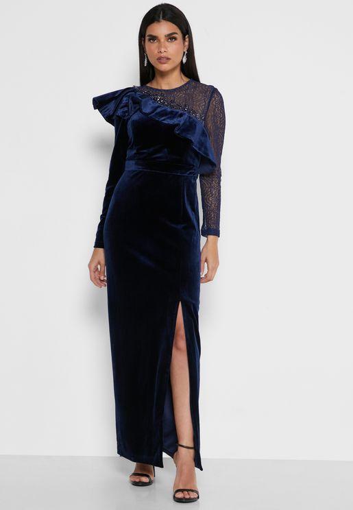 Front Split Ruffle Detail Dress