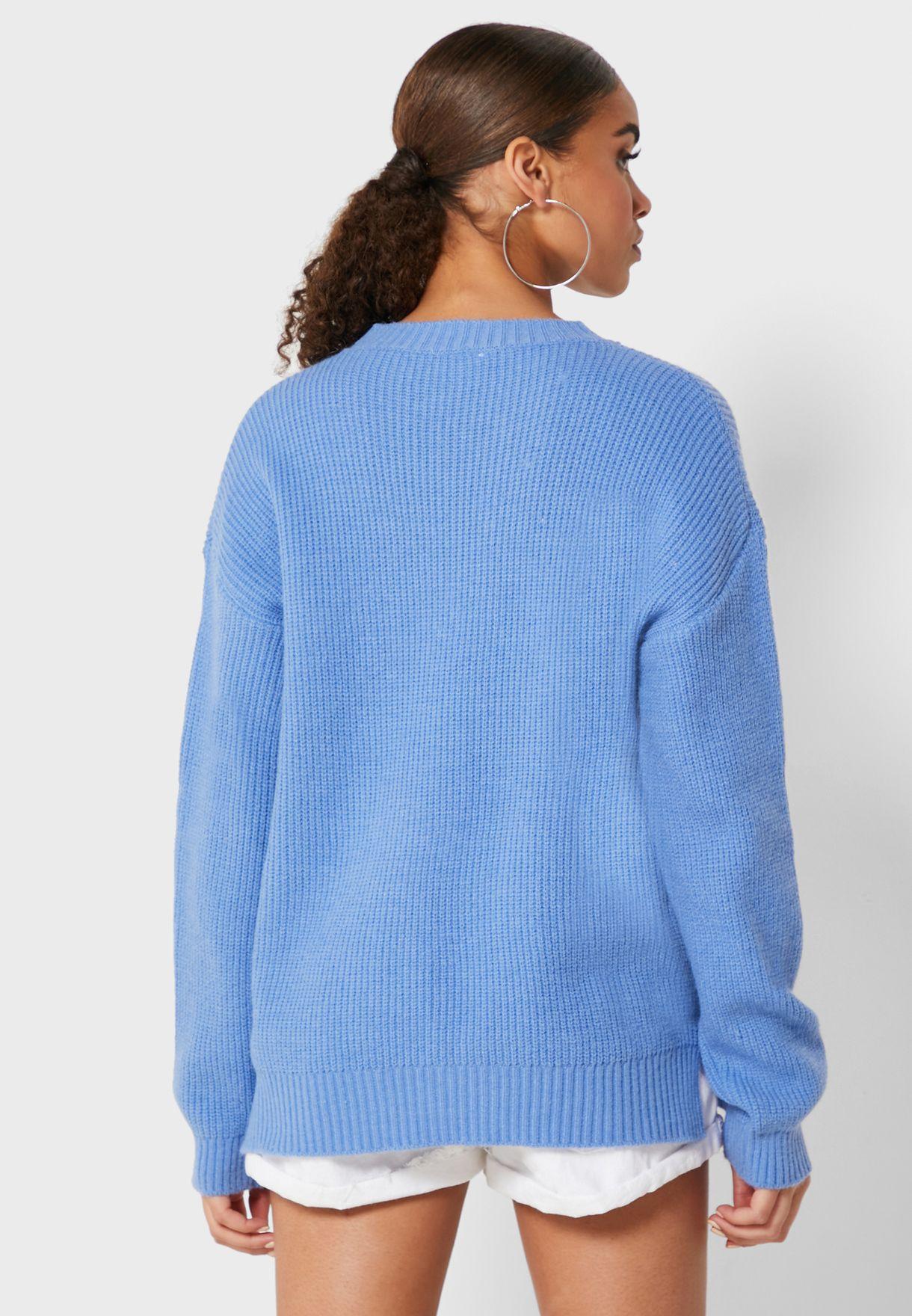 Textured Side Slit Sweater