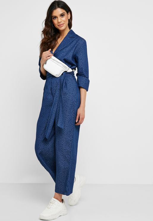 Denim Jacquard Jumpsuit