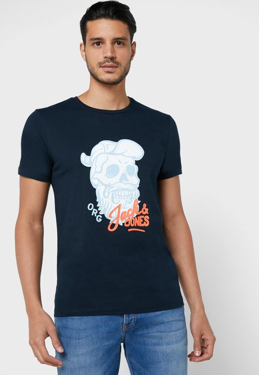 Skull Print Regular Fit Crew Neck T-Shirt