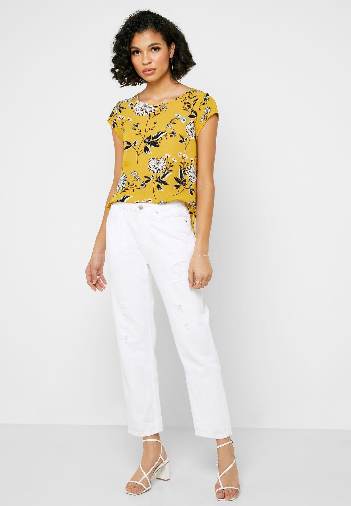 Floral Print Short Sleeve Top