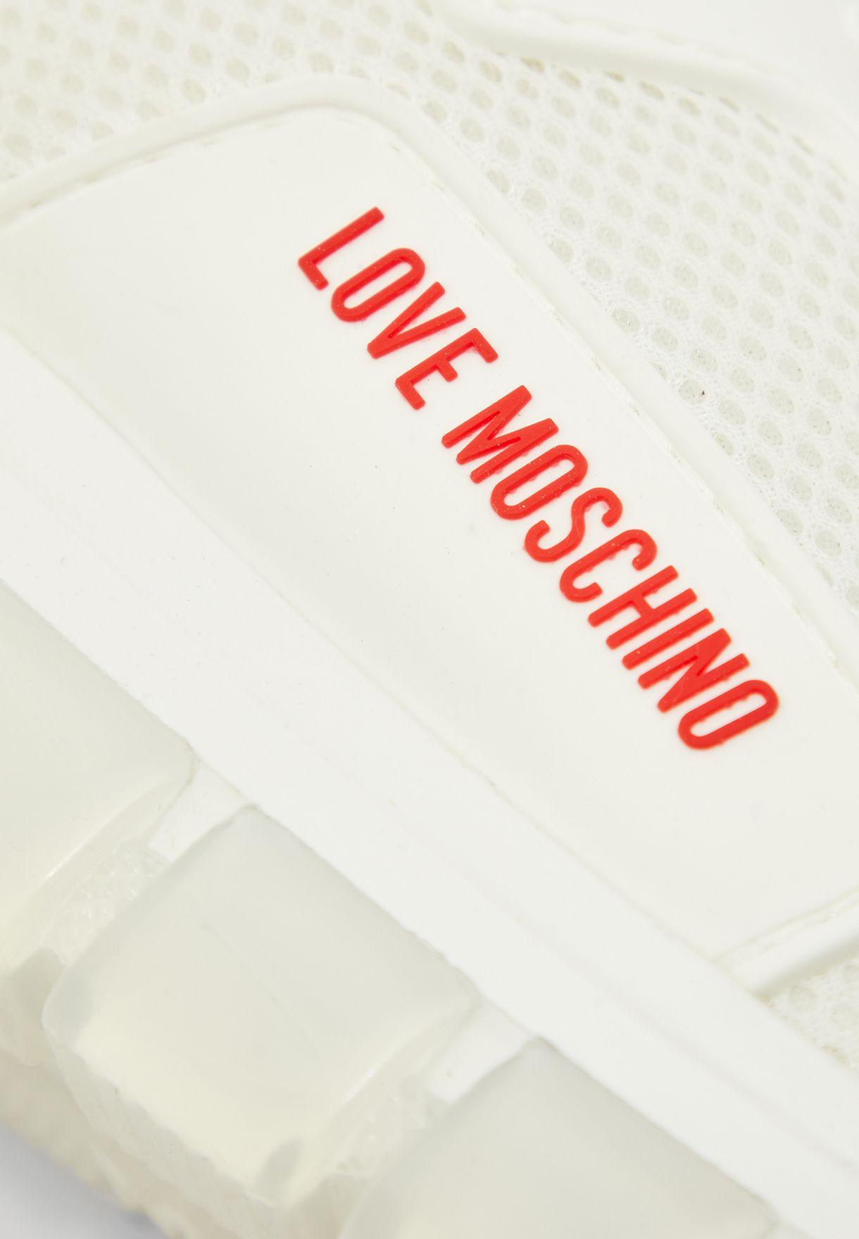 Mesh Detail Low Top Sneaker - Bianco