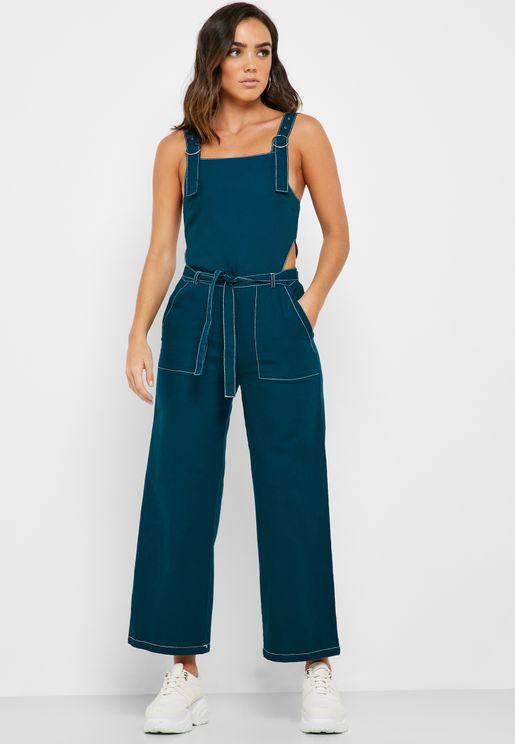 Contrast Stitch Belted Jumpsuit