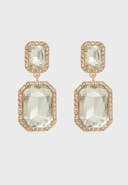 Pave Rectangle Drop Earring
