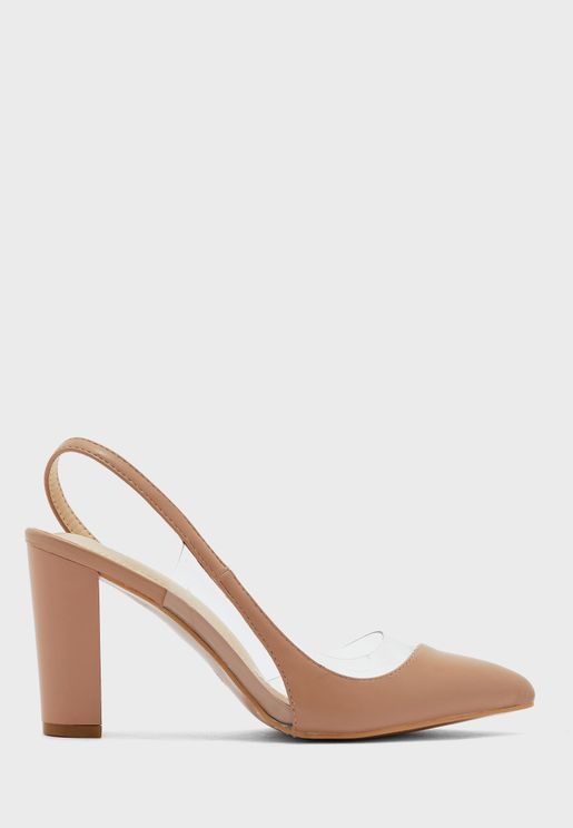 Asymetric Strap Pointed Pump With Clear Detail